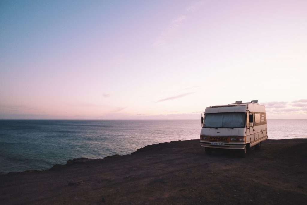 Off grid RV camping by the ocean